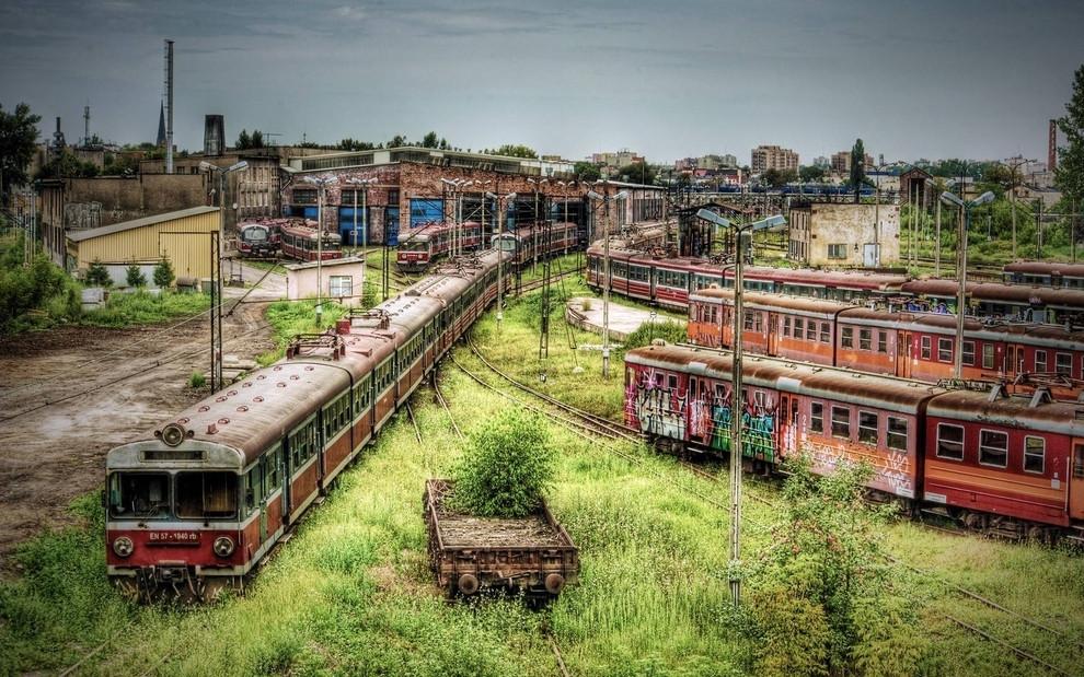 Polen verlaten treinstation