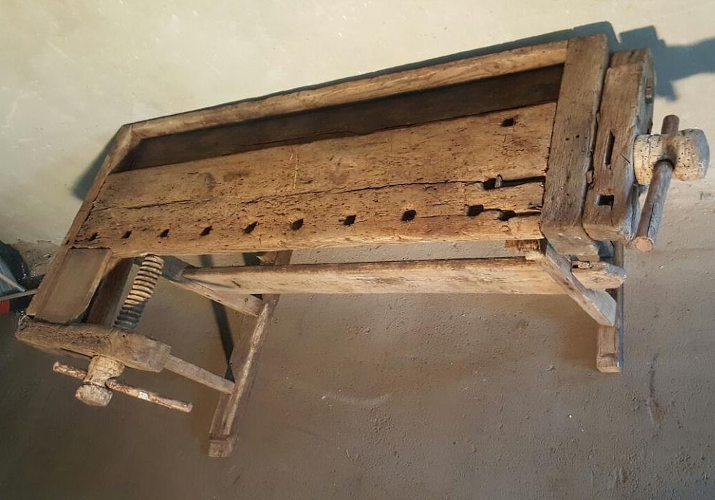Oude houten werkbank CCCP - Roest Wonen